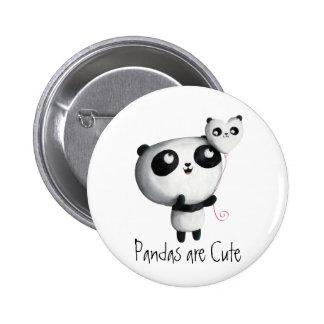 Panda linda con el globo pin redondo de 2 pulgadas