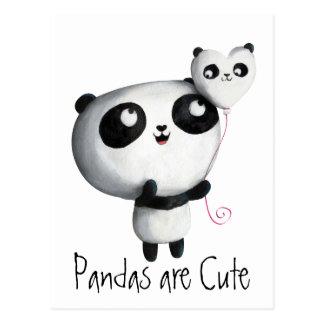 Panda linda con el globo postales