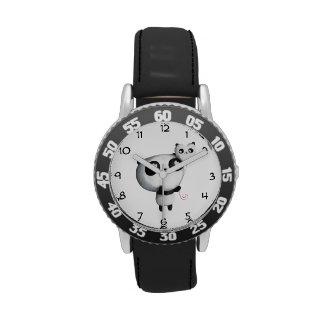 Panda linda con el globo reloj de mano