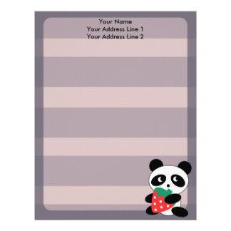 Panda linda con el papel con membrete púrpura del  membrete a diseño