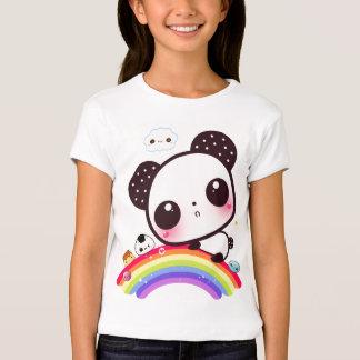 Panda linda con la comida del kawaii en el arco camisas