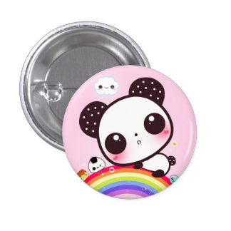 Panda linda con la comida del kawaii en el arco ir pin redondo de 1 pulgada