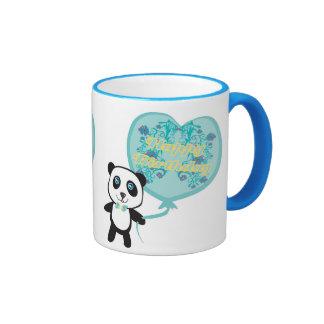 Panda linda con la taza del globo