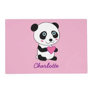 Panda linda con un personalizable rosado del salvamanteles