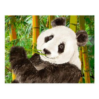 Panda linda de la acuarela en el bosque de bambú postales
