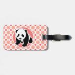 Panda linda del bebé; Lunares rosados y coralinos Etiqueta Para Maleta