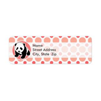 Panda linda del bebé; Lunares rosados y coralinos Etiquetas De Remite