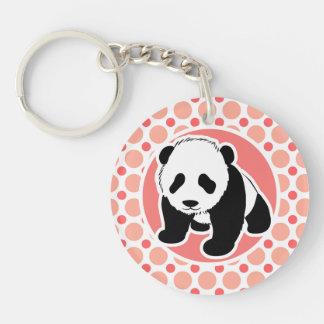 Panda linda del bebé; Lunares rosados y coralinos Llavero