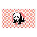 Panda linda del bebé; Lunares rosados y coralinos Tarjeta De Visita