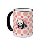 Panda linda del bebé; Lunares rosados y coralinos Taza