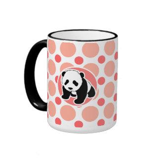 Panda linda del bebé; Lunares rosados y coralinos Taza De Dos Colores
