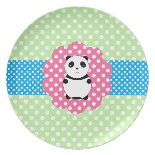 Panda linda del bebé platos para fiestas