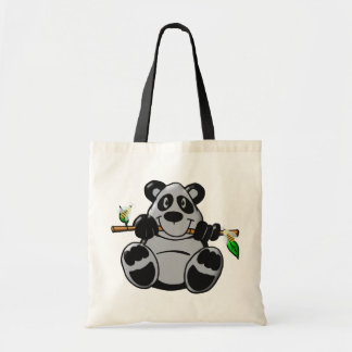 Panda linda del bebé que come el bambú bolsas lienzo
