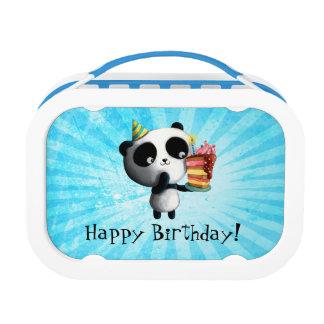 Panda linda del cumpleaños con la torta