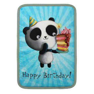Panda linda del cumpleaños con la torta funda macbook air