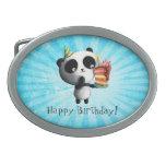 Panda linda del cumpleaños con la torta hebillas cinturon ovales