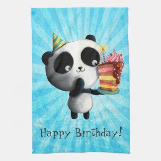 Panda linda del cumpleaños con la torta toalla de mano