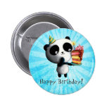 Panda linda del cumpleaños con la torta pins
