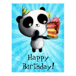 Panda linda del cumpleaños con la torta postal
