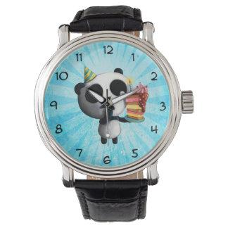Panda linda del cumpleaños con la torta relojes de pulsera