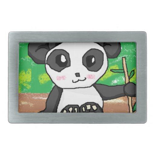 panda linda del dibujo animado hebilla de cinturón rectangular