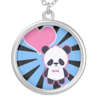 Panda linda en Bluue Starburst Colgante Redondo