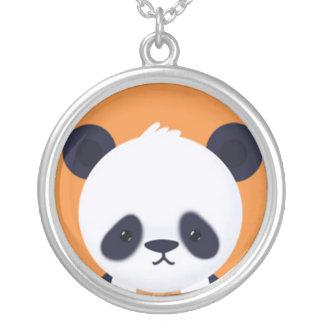 Panda linda en el naranja BG Colgante Redondo