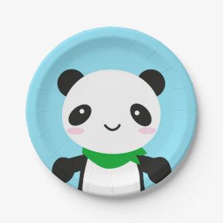 Panda linda estupenda de Kawaii Plato De Papel De 7 Pulgadas
