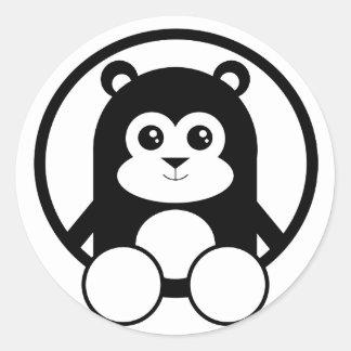 Panda linda etiquetas redondas