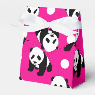 Panda linda; Lunares rosados, negros y blancos de Cajas Para Regalos De Fiestas