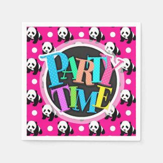Panda linda; Lunares rosados, negros y blancos de Servilletas Desechables