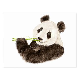Panda linda, oso asiático, animal de la acuarela tarjeta postal