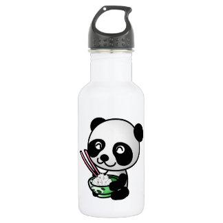 Panda linda que come el arroz del cuenco con los