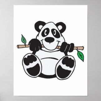 panda linda que cuelga de rama póster