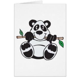 panda linda que cuelga de rama tarjeta de felicitación