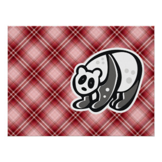 Panda linda; Tela escocesa roja Poster