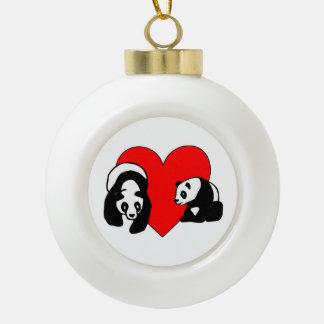 Panda Love Ceramic Ball Christmas Ornament