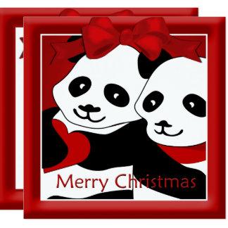 Panda Love Couple Christmas Greeting Card