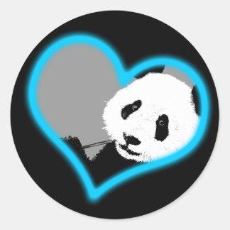panda love. neon light. classic round sticker