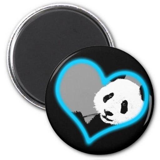 panda love. neon light. fridge magnet
