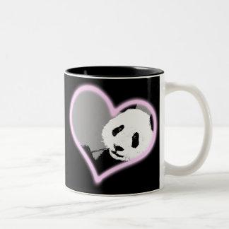 panda love.  neon light. Two-Tone coffee mug