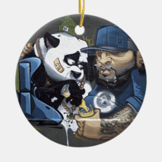 Panda Love Double-Sided Ceramic Round Christmas Ornament