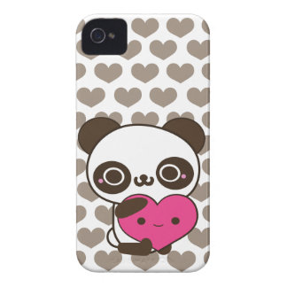Panda Love Pink Gray Hearts iPhone 4 Case