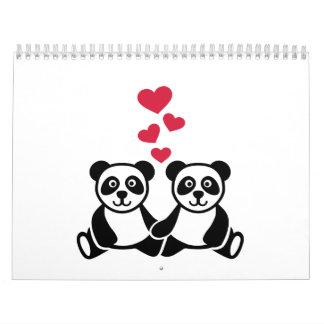 Panda love red hearts calendar