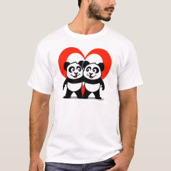 Men's Basic T-Shirt with Panda Pair Heart design