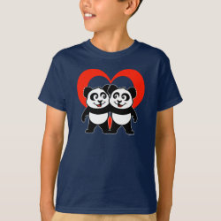 Panda Pair Heart Kids' Hanes TAGLESS® T-Shirt