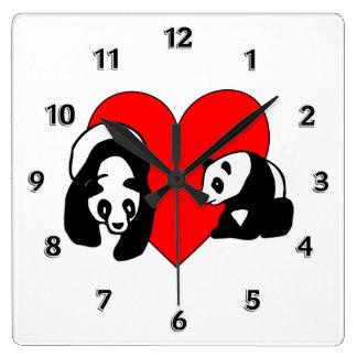 Panda Love Square Wall Clock