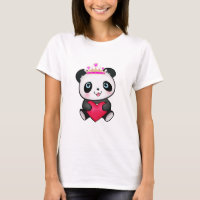 Panda Lover Fan Gift Valentine's Day Heart Present T-Shirt