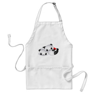 Panda lovers with heart adult apron