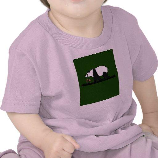 panda loves flowers t shirts